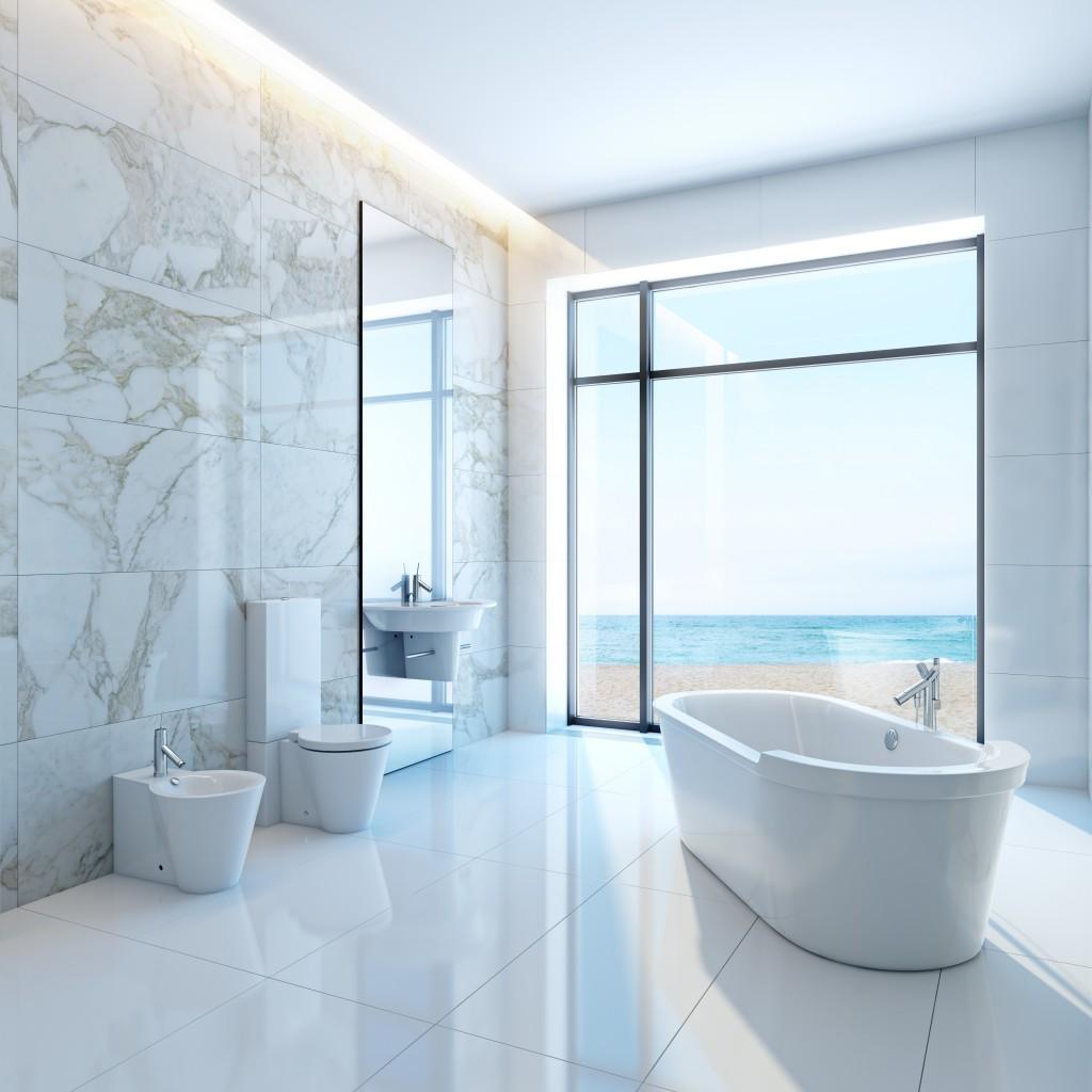 modern luxurious bathroom in house on a beach